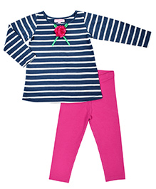 CrayonFlakes Stripe Print Top & Leggings Set - Navy Blue & Pink