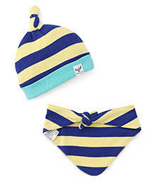 Pinehill Cotton Cap & Bib Set - Blue & Yellow