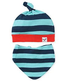 Pinehill Cap and Bib Set Stripes Print - Blue Green