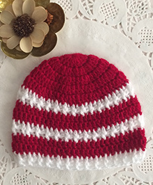 Buttercup From Knittingnani Textured Cap - Red & White