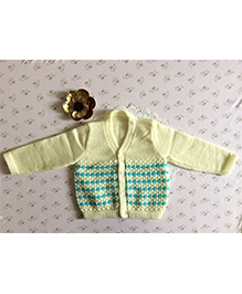 Buttercup From Knittingnani Full Sleeve Sweater In Tuck Pattern - Yellow & Turquoise