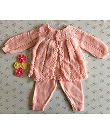 Buttercup From Knittingnani Sweater Set With Leggings - Pinkish Peach