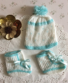Buttercup From Knittingnani Cap & Socks Set - White & Turquoise