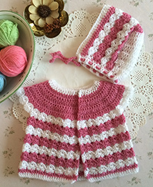 Buttercup From Knittingnani Cardigan With Bonnet - Rose Pink & White