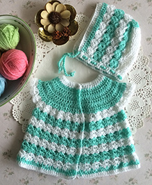 Buttercup From Knittingnani Cardigan With Bonnet - Pista & White