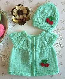 Buttercup From Knittingnani Cardigan With Cherry Applique - Pista
