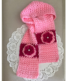 Buttercup From Knittingnani Scarf With Blooming Flower - Pink