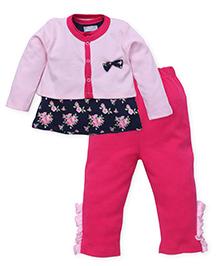 Wonderchild Rose Print Top & Leggings Set With Jacket - Pink & Navy Blue