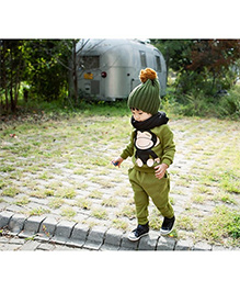Teddy Guppies Full Sleeves Top And Bottom Set Monkey Print - Green