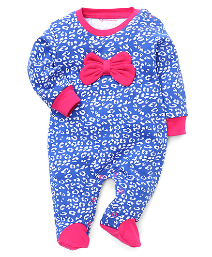 Wonderchild Printed Footed Romper With Bow - Blue & Pink