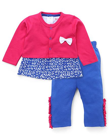 Wonderchild Bloch Print Leggings & Top Set With Jacket Set- Pink & Navy Blue