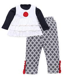 Wonderchild Top With Inner And Leggings Set - Black White Red