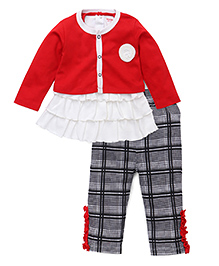 Wonderchild Chekered Print Top & Pant With Jacket - Black & Red