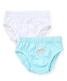 Babyhug Panties Elephant Print Pack Of 2 - White And Aqua Blue