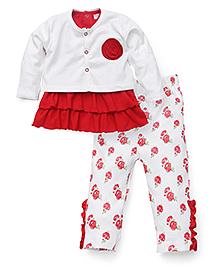 Wonderchild Top With Shrug And Leggings Set - White Red
