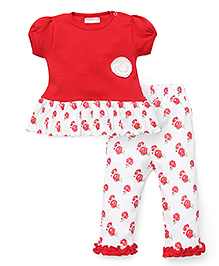 Wonderchild Short Sleeves Rose Print Top And Pant Set - White Red