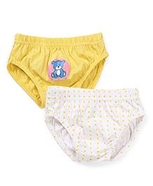 Babyhug Panties Teddy And Polka Dot Print Pack Of 2 - White And Yellow