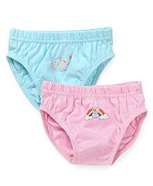 Babyhug Panties Rainbow & Elephant Print Pack Of 2 - Aqua Blue & Pink