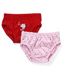 Babyhug Panties Pack of 2 -  Red Pink