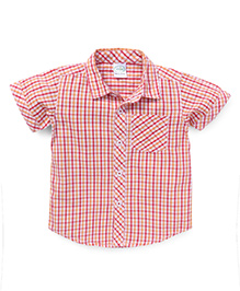 Babyhug Half Sleeves Shirt Checks Print - Red