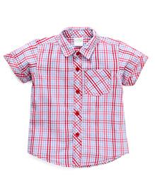 Babyhug Half Sleeves Checks Shirt - Red