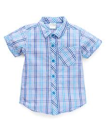 Babyhug Half Sleeves Checks Shirt - Blue
