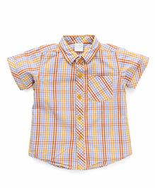 Babyhug Half Sleeves Checks Shirt - Yellow