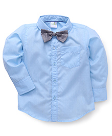 Babyhug Full Sleeves Shirt Plain With Dotted Bow - Blue