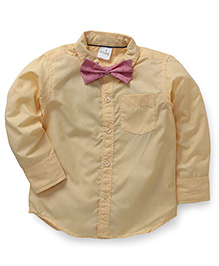Babyhug Full Sleeves Shirt Plain With Dotted Bow - Yellow