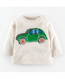 Teddy Guppies Full Sleeves T-Shirt Car Embroidered Patch - Light Grey & Green
