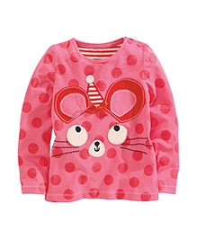 Teddy Guppies Full Sleeves Polka Dot T-Shirt Animal Design - Pink
