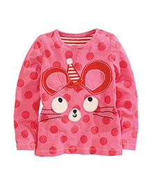 Teddy Guppies Full Sleeves Polka Dot T-Shirt Animal Design - Pink