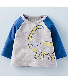 Teddy Guppies Full Sleeves T-Shirt Dinosaur Print - Grey & Blue