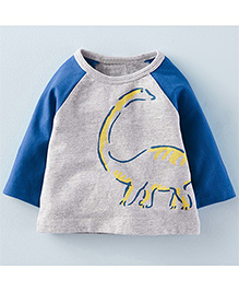 Teddy Guppies Full Sleeves T-Shirt Dinosaur Print - Grey & Blue