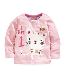 Teddy Guppies Full Sleeves T-Shirt Kitty Print - Pink