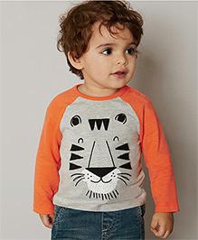 Teddy Guppies Full Sleeves T-Shirt Tiger Print - Grey & Orange
