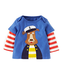Teddy Guppies Striped Sleeves T-Shirt Bear Embroidery - Blue