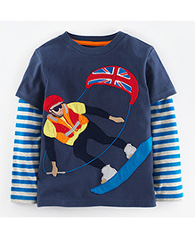 Teddy Guppies Doctor Sleeves T-Shirt Skiing Design - Blue