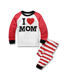 Teddy Guppies Full Sleeves Top And Bottoms Set I Love Mom Print - Red White