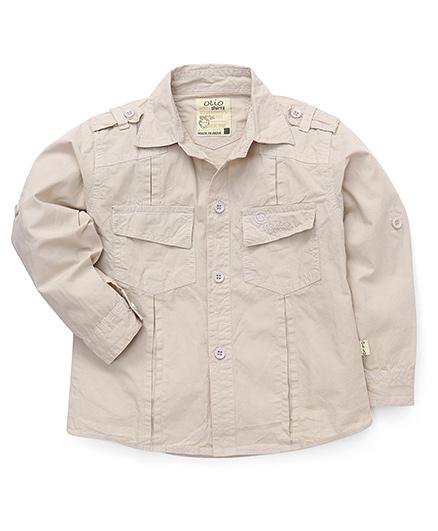 Olio Kids Full Sleeves Solid Shirt - Cream