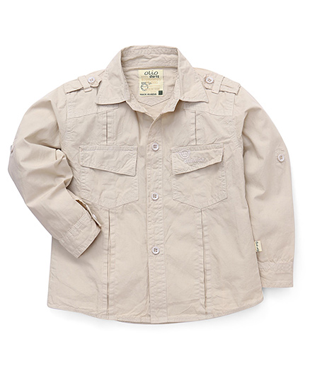 Olio Kids Full Sleeves Solid Shirt - Fawn