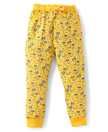 Olio Kids Full Length Track Pant Allover Coconut Tree Print - Yellow