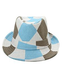 Little Cuddle Daimond Print Cowbay Hat - Blue & White