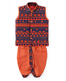 Ethnik's Neu Ron Sleeveless Kurta & Dhoti Set - Orange And Navy