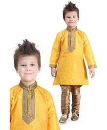 Ethnik's Neu Ron Full Sleeves Kurta And Pajama - Yellow & Gold