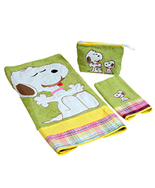 The Button Tree Dog 3 Piece Towel Sets - Green & Multicolour