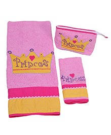 The Button Tree Princess 3 Piece Towel Sets - Multicolour