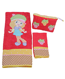 The Button Tree Strawberry Cup 3 Piece Towel Sets - Multicolour