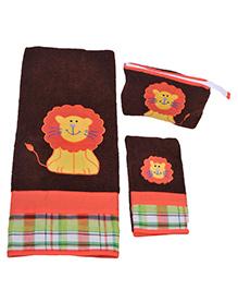 The Button Tree Lion Snug 3 Piece Towel Sets - Multicolour