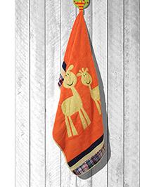 The Button Tree Giraffe Towel - Orange & Yellow